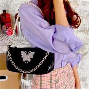 New Butterfly Rhinestone Pearl Chain Shoulder Bag